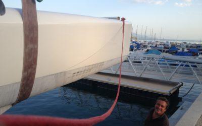 Août 2017 : mise à l'eau du catamaran à Rolle
