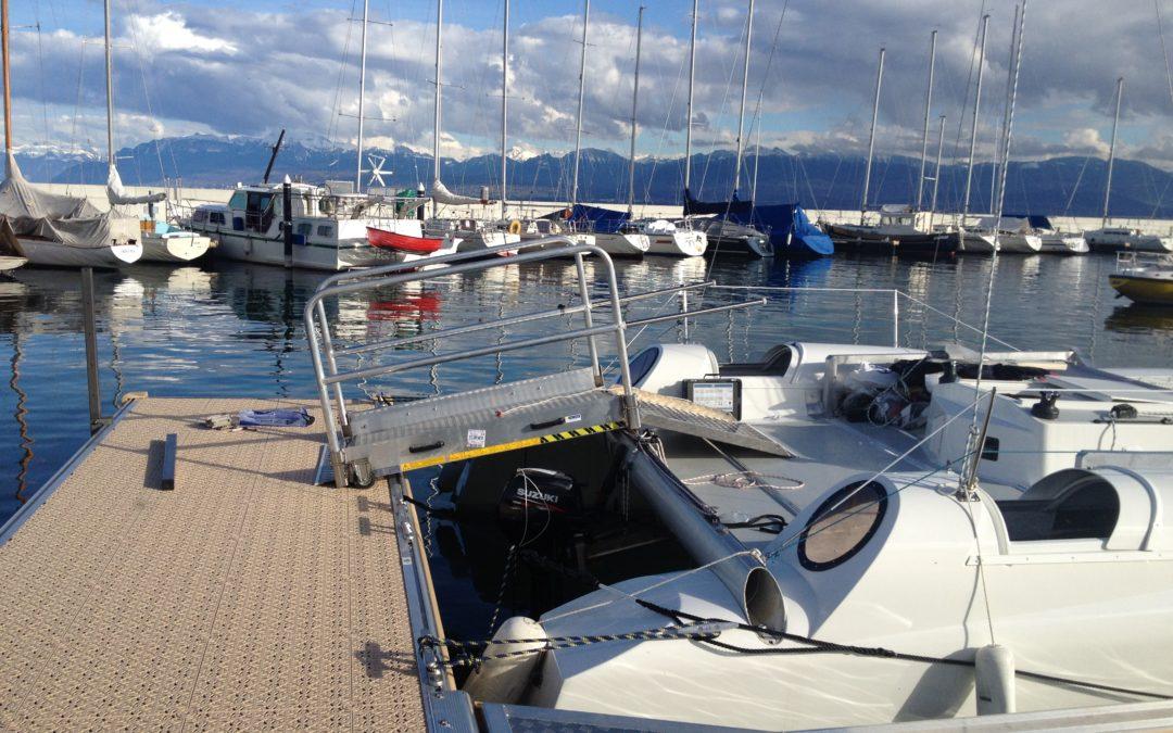 Un grand jour ! L'arrivée de la passerelle du catamaran à Rolle